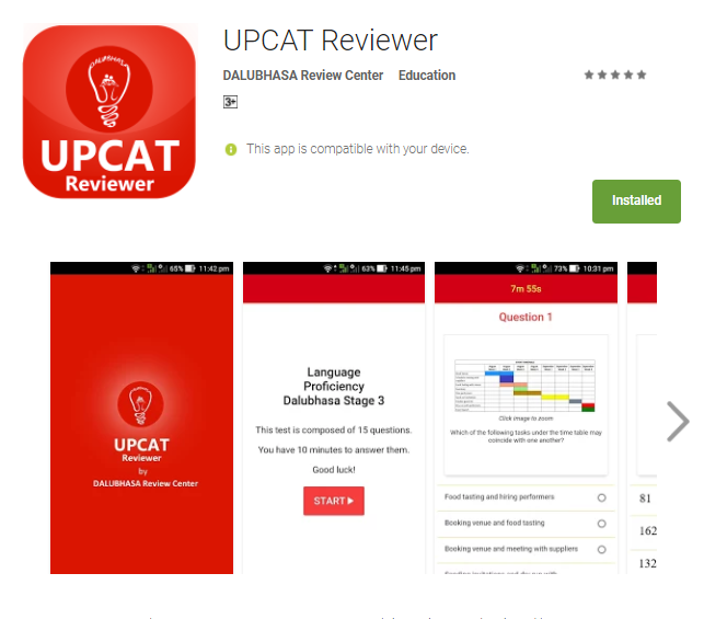 UPCAT Reviewer Mobile App at Google Play